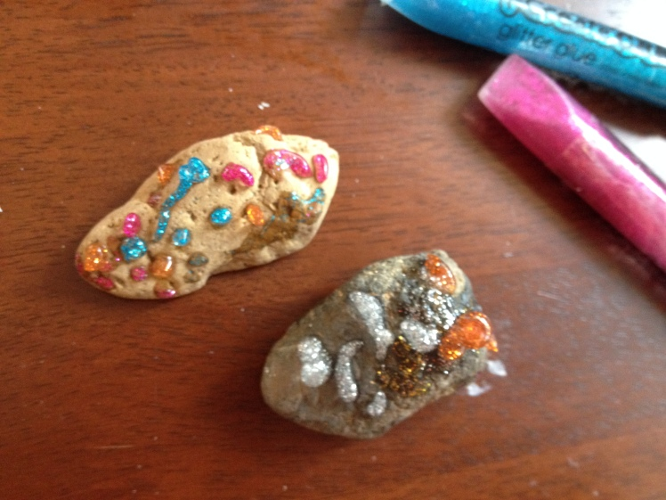 Rocks and glitter glue