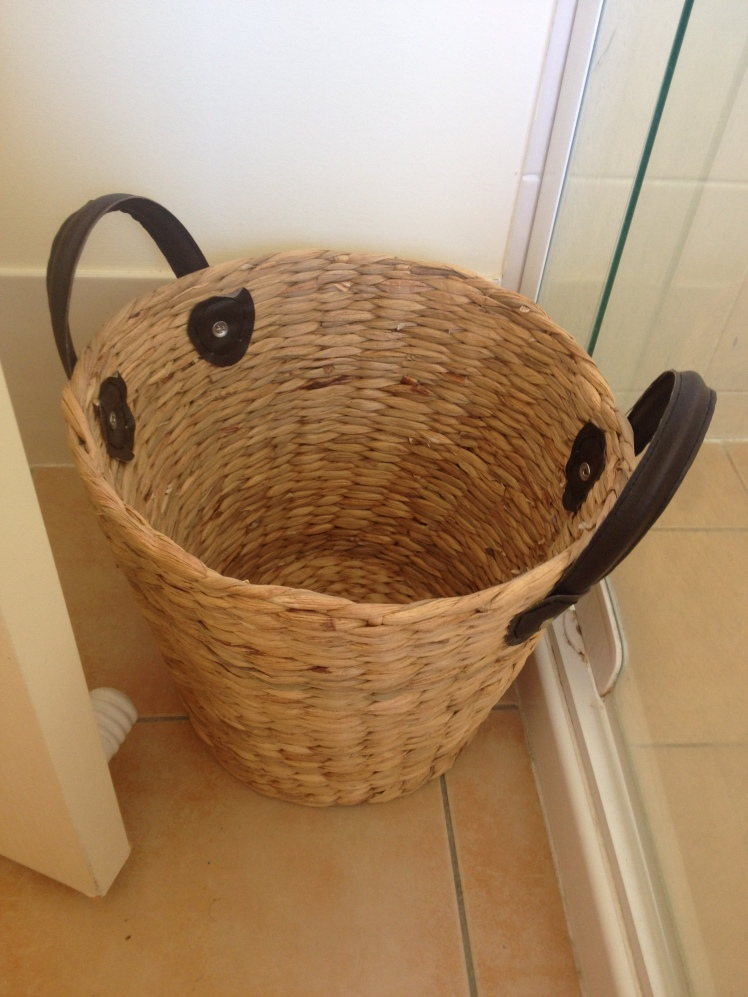 Laundry basket behind door