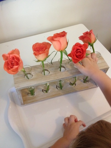 2yrold flower arranging