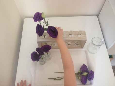 4yrold flower arranging
