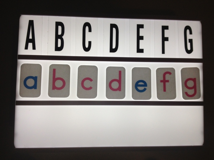 Light box letter matching