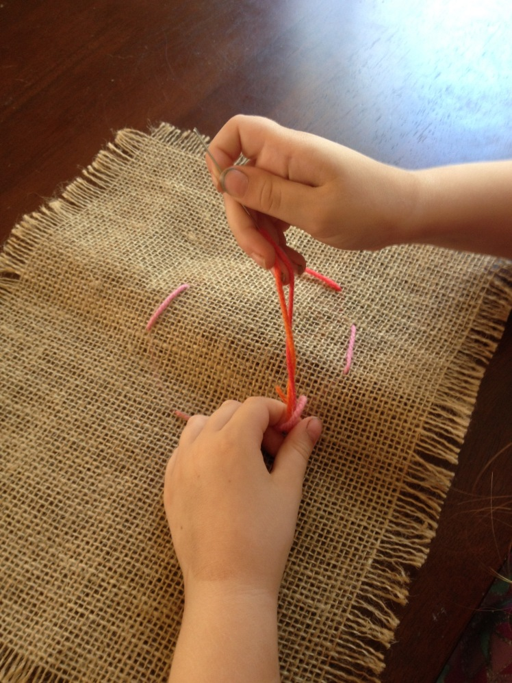 Sewing on Hessian