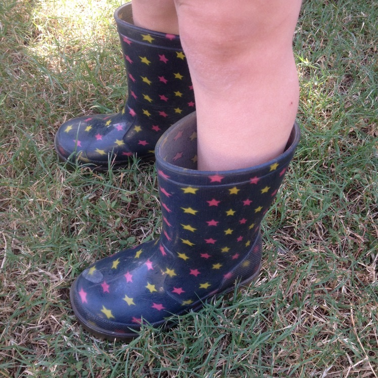 outdoor gumboots at 2 years