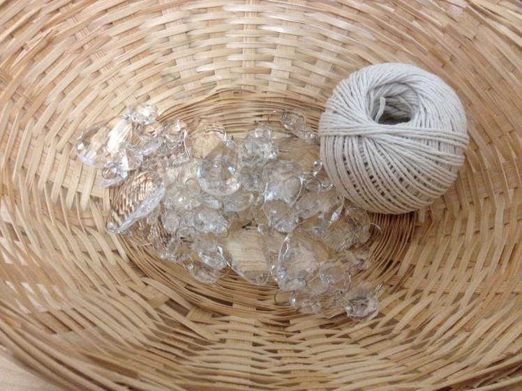acrylic clear beads and twine
