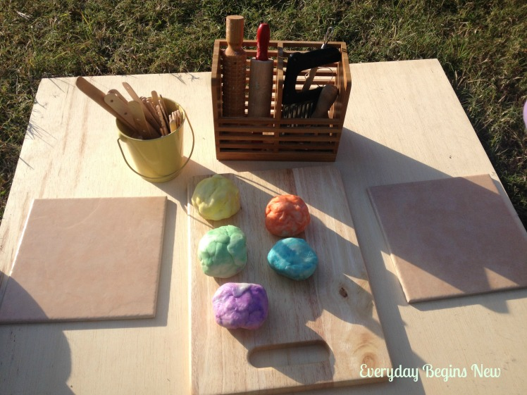 outdoor playdough play