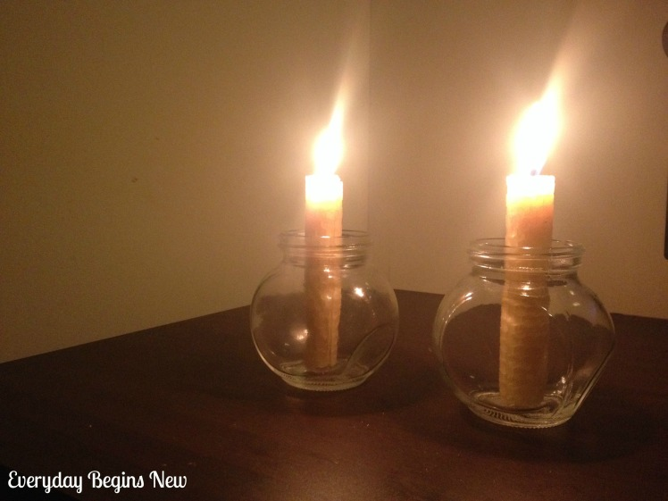 EBN Beeswax candles lit