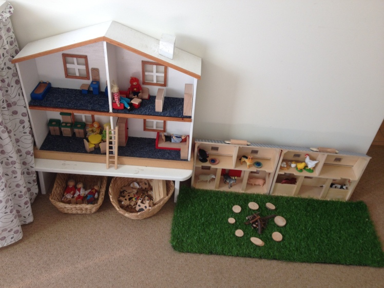 hand made doll house and play barn