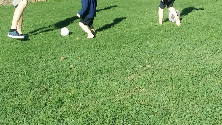 family soccer play