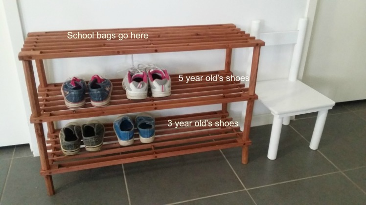 Montessori at home spaces- children's shoe rack
