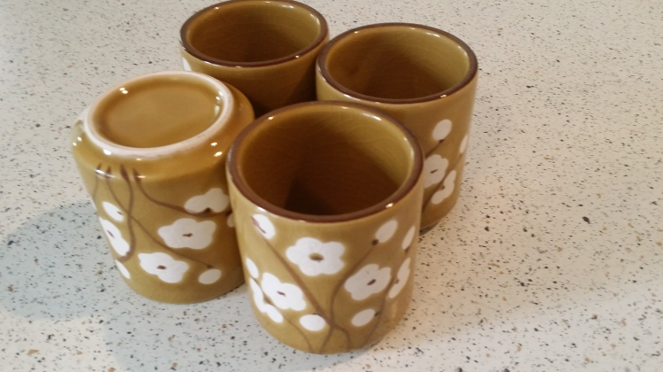 second hand tea cups as plant pots