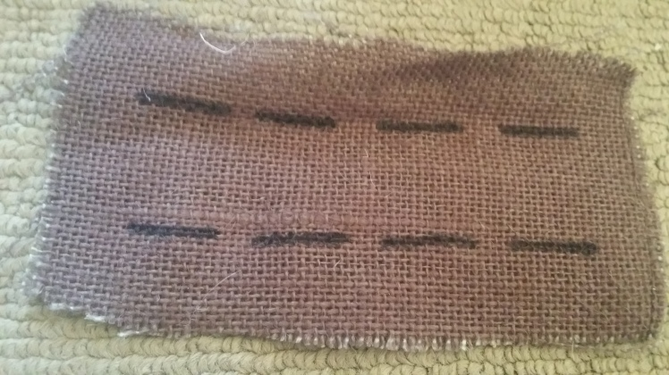 Sewing on hessian or burlap