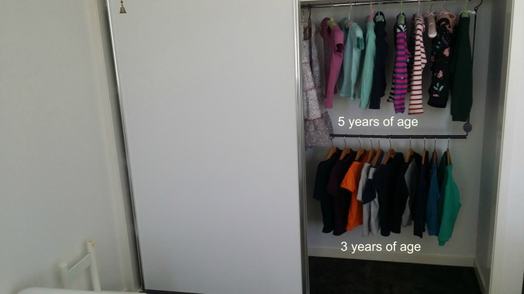 children's Montessori style wardrobe space
