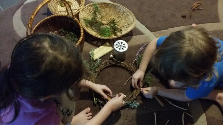 wreath decorating with children