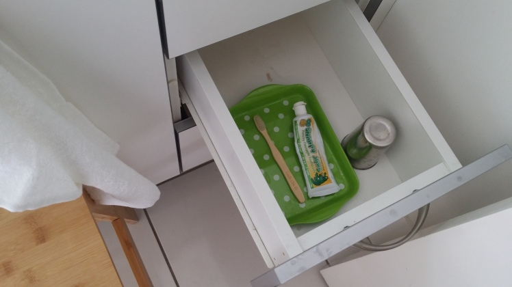 3 year olds bathroom drawer for teeth brushing