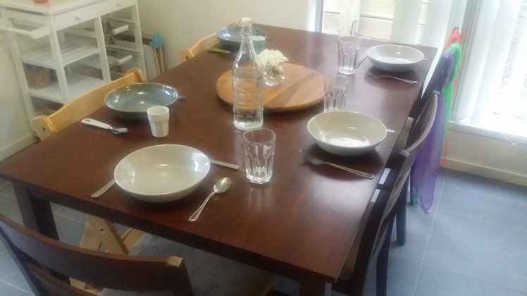 Birthday dinner table setting
