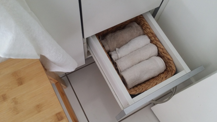 facecloths in bathroom drawer