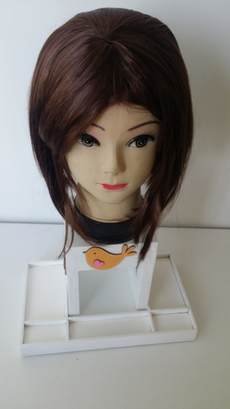 hair dressing doll brownish red wig with bob haircut