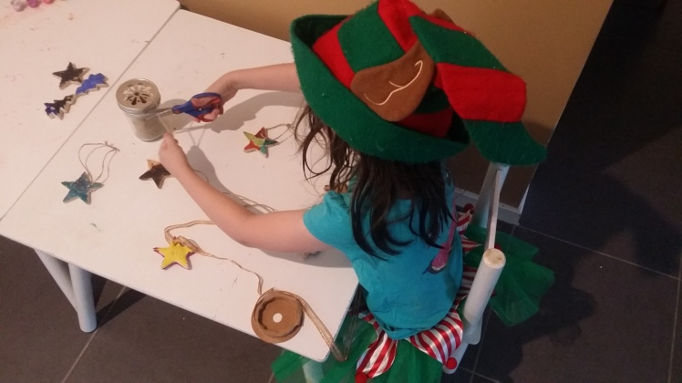 making salt dough Christmas ornaments at 5 years