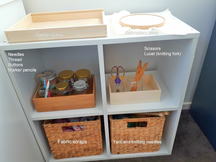 Children's gathering sewing and craft shelf