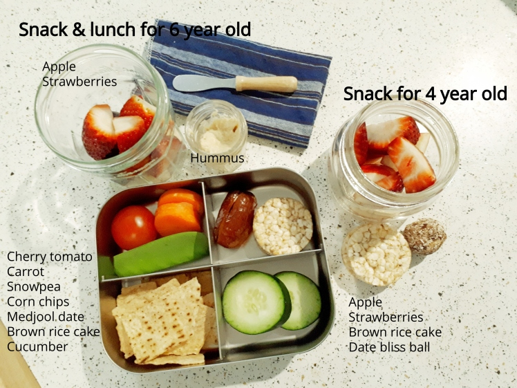 Plant based school lunch and snacks- day 1