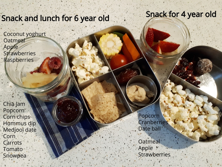 Plant based school lunch and snacks- day 2
