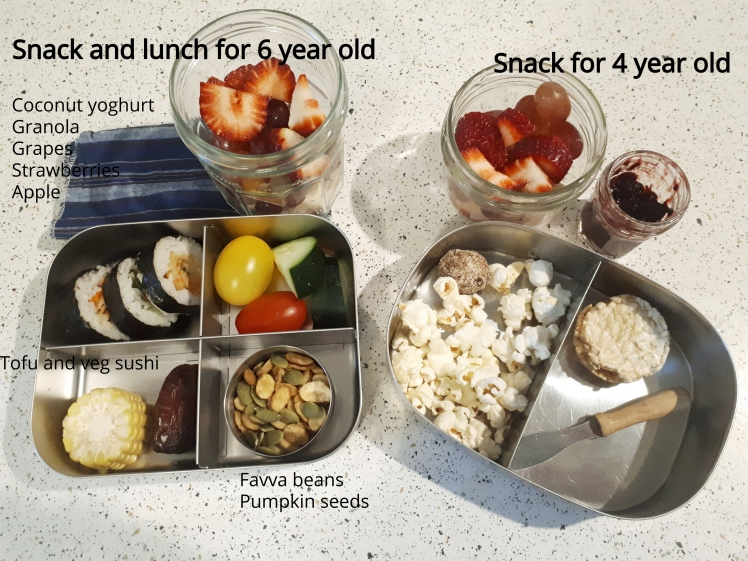Plant-based school lunch and snacks- day 3