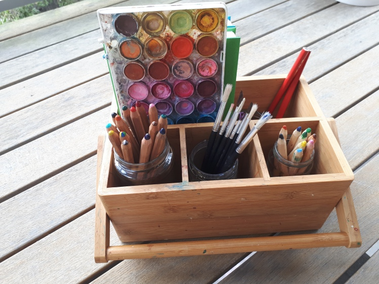 Art caddy for nature journalling with children