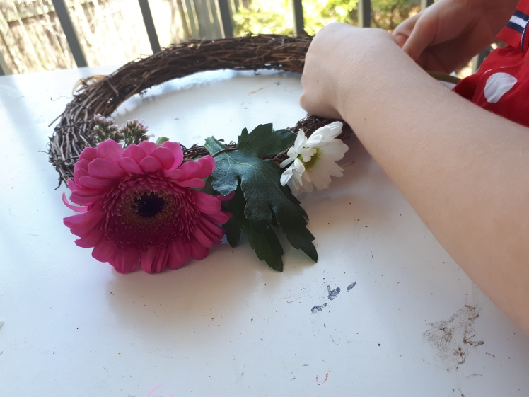 Spring wreath decorating 2