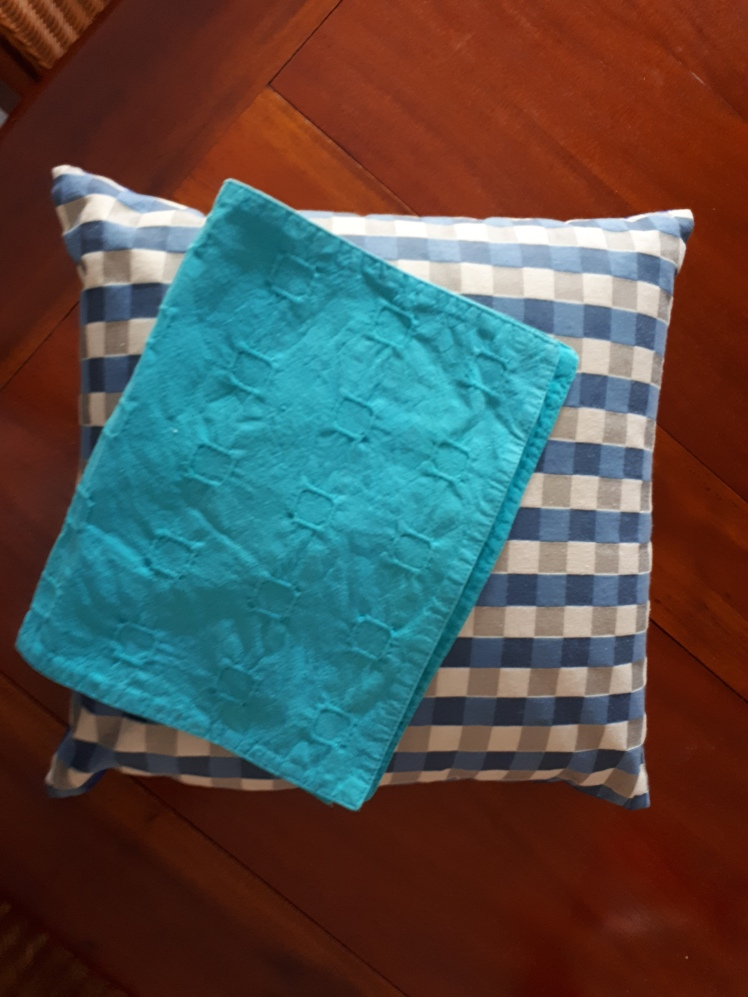 Thrift shopping- cloth placemat and childrens bedroom cushion
