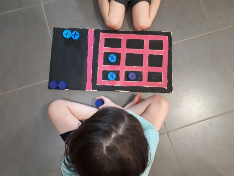 Miss 6's DIY game board- naughts and crosses