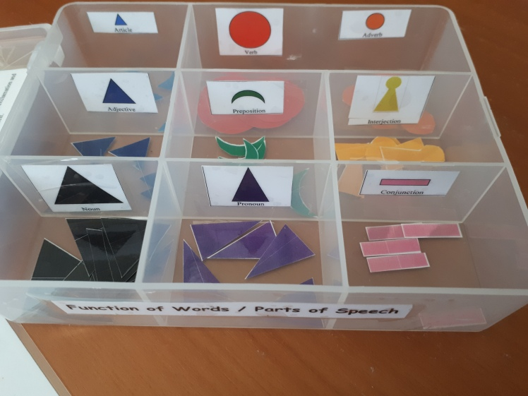 Montessori grammar box